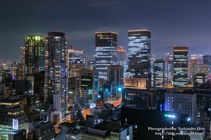 ザ・ロイヤルパークホテル・アイコニック大阪御堂筋からの夜景 中之島の高層ビル群