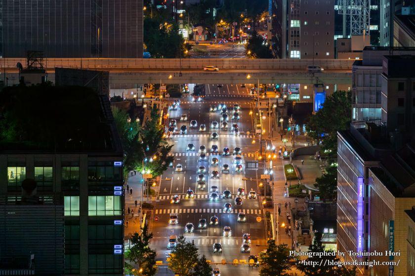 ザ・ロイヤルパークホテル・アイコニック大阪御堂筋からの夜景 御堂筋の車列