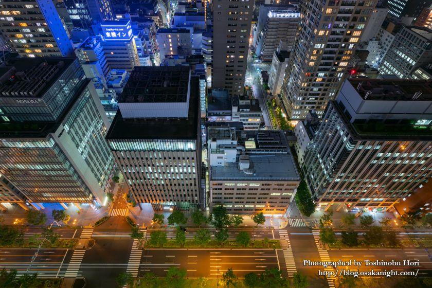ザ・ロイヤルパークホテル・アイコニック大阪御堂筋からの夜景 御堂筋の俯瞰