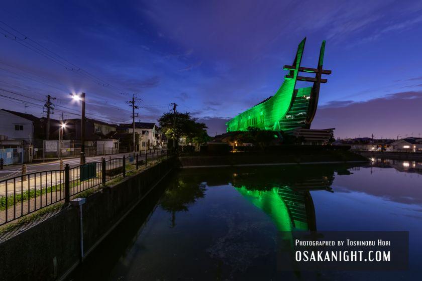 藤井寺市立生涯学習センター(アイセル シュラ ホール) ライトアップ夜景 2021年7月 02