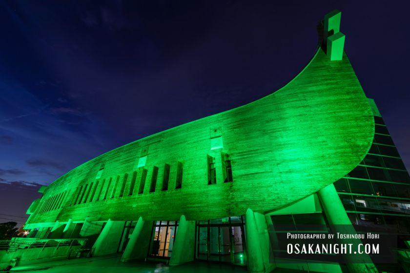 藤井寺市立生涯学習センター(アイセル シュラ ホール) ライトアップ夜景 2021年7月 08