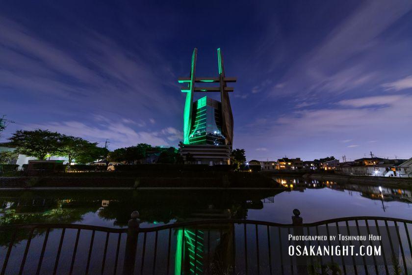 藤井寺市立生涯学習センター(アイセル シュラ ホール) ライトアップ夜景 2021年7月 09